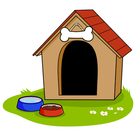 A doghouse and bowls of water and pet food.