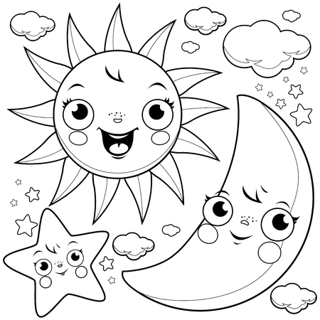 Cute sun, moon, stars and clouds. Black and white coloring page illustration
