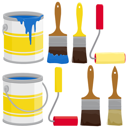 Paint supplies, cans, brushes, buckets and rollers. Vector illustration Imagens - 79171957
