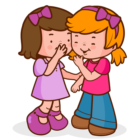 Two little girls share secrets, whispering, talking and laughing. Illustration