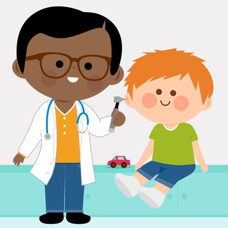 Male pediatrician examining a little boy