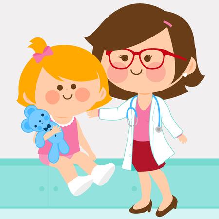 어린 소녀를 검사하는 여성 소아과 의사