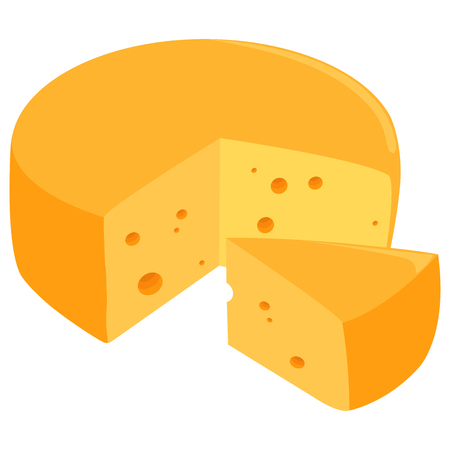 Sliced Swiss cheese wheel. Illustration