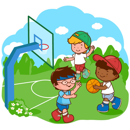 teammates: Children play basketball Illustration