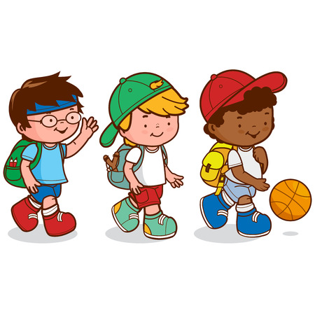 Three children meet after school to go play basketball. Vector illustration