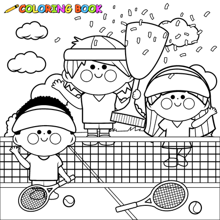 Champion kids tennis players at tennis court holding trophy. Coloring book page