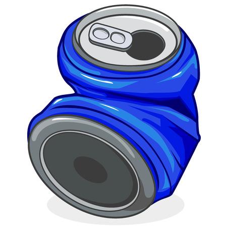 Crushed tin soda can
