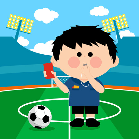 Soccer referee at a stadium blowing a whistle and showing a red card. Illustration
