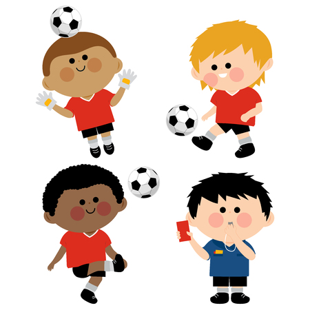 Children soccer players, a goal keeper and a referee vector illustration.