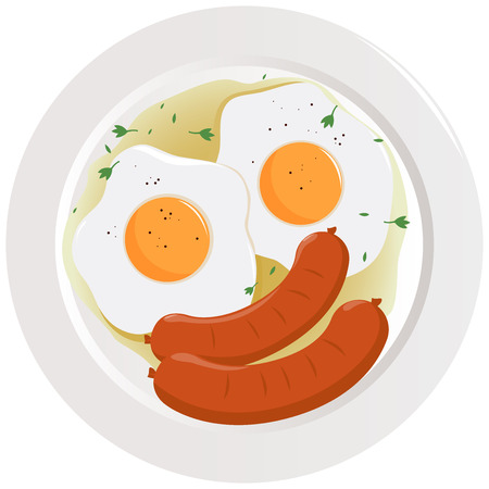 Eggs and sausages dish illustration.