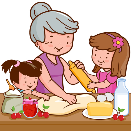 Grandmother and children cooking in the kitchen illustration.