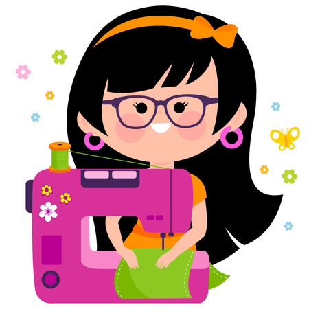 seamstress: Woman seamstress using her sewing machine Illustration