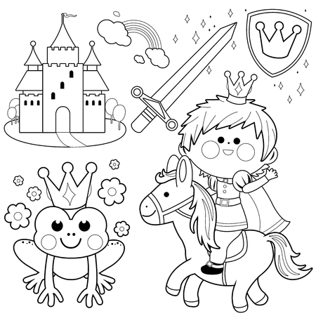 Prince riding a horse fairy tale set. Black and white coloring page illustration