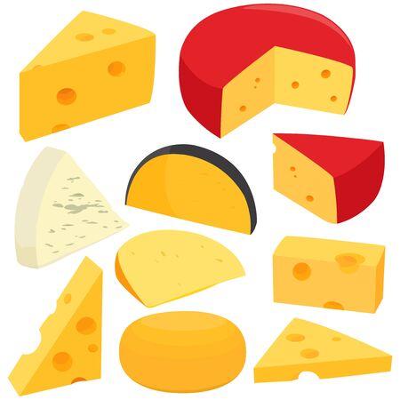 カラフルなチーズ コレクション イラスト。 写真素材 - 84286981