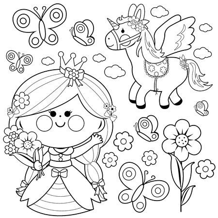 Princess fairy tale set. Black and white coloring page illustration