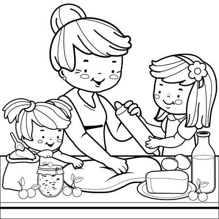 Grandmother and children cooking in the kitchen. Coloring book page Vectores
