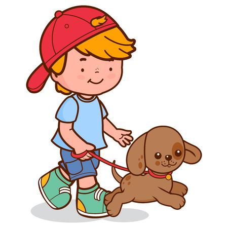 Un niño pequeño paseando a su perro. Ilustración vectorial