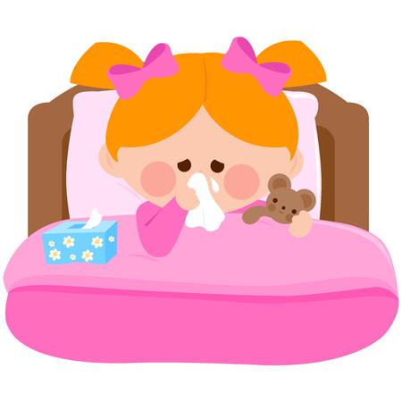 Meisje die haar neus blazen die ziek in bed liggen en haar teddybeerstuk speelgoed houden. Vector illustratie