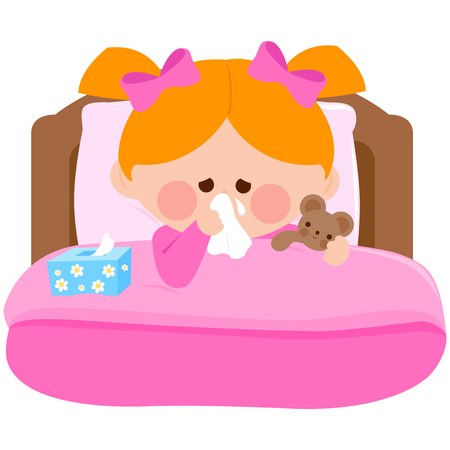 Little girl blowing her nose lying sick in bed and holding her teddy bear toy. Vector illustration