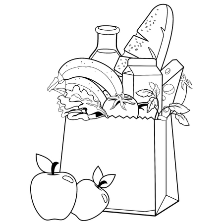 Bag with groceries. Coloring book page