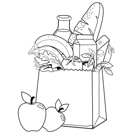 Bolsa con víveres. Página del libro para colorear Ilustración de vector