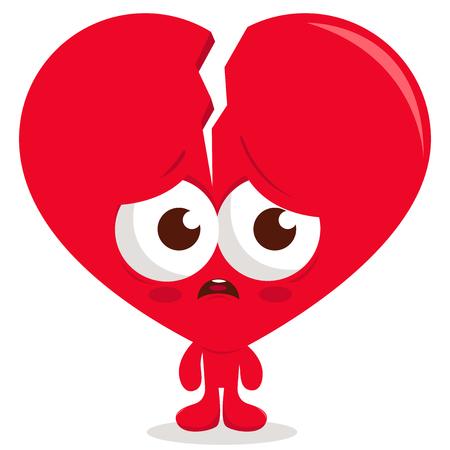 Broken heart cartoon character. Vector illustration.