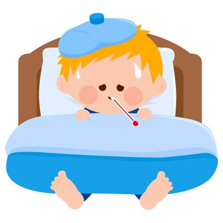 A sick child in bed, using a thermometer and a cool compress. Vector illustration