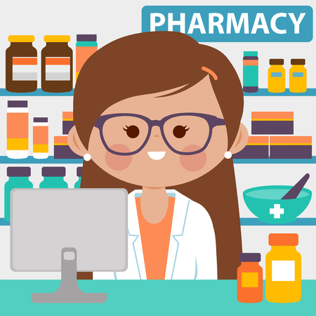Pharmacist at the counter in a pharmacy opposite of shelves with medicines Vector illustration Illustration