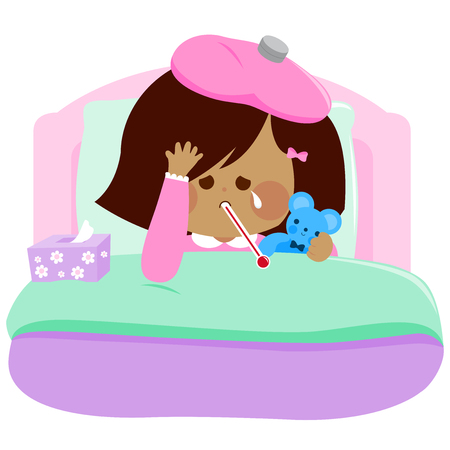 Little girl lying sick in bed and holding her teddy bear toy Vector illustration