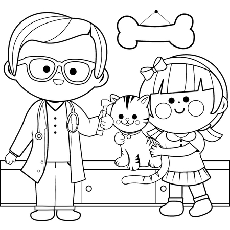 Veterinary physician examining a little girl's cat with an otoscope. Coloring book page