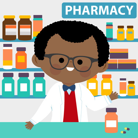 Pharmacist at the counter in a pharmacy opposite of shelves with medicines.
