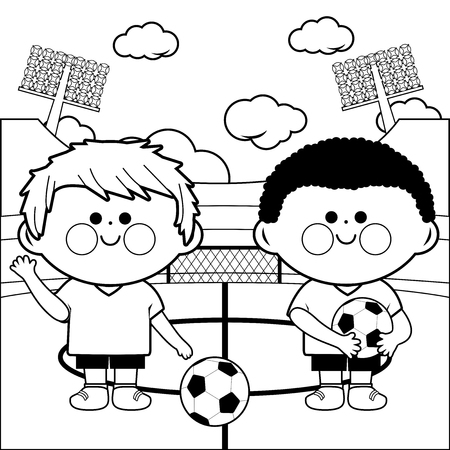 Two young children soccer players at a stadium. Black and white coloring page illustration Illustration