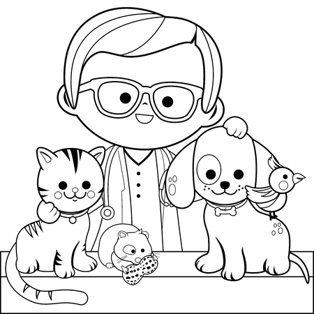 Veterinarian and pets. Coloring book page