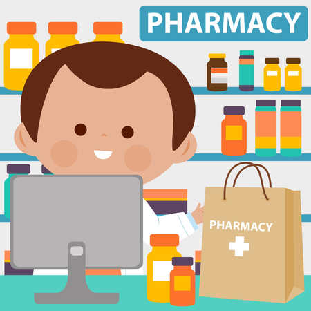 Pharmacist at the counter with shopping bag full of medicine
