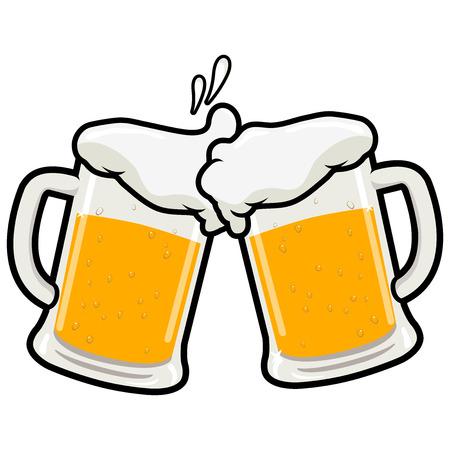 ビール乾杯コンセプトベクトルイラストに2つのフルビールマグ