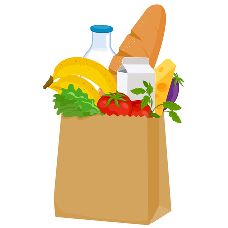 Paper bag with groceries on white background, vector illustration.