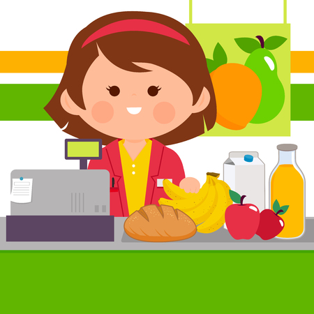 Grocery store employee at the counter, vector illustration.