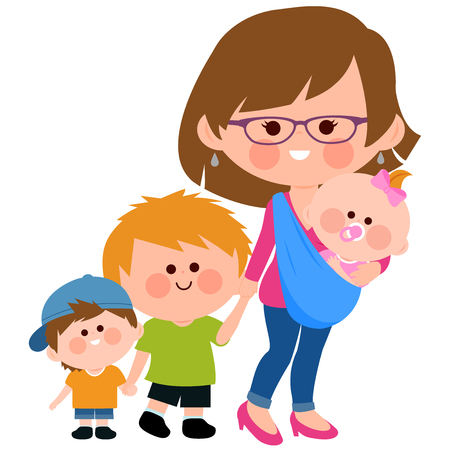 Vector Illustration of a mother carrying her baby in a baby sling and walking with her children.