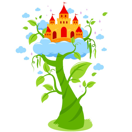 Magic beanstalk and castle in the clouds. Stock Illustratie