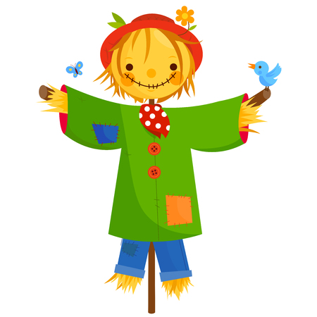 Scarecrow on white background, vector illustration