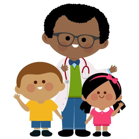 남성 소아과 의사와 아이들. 일러스트
