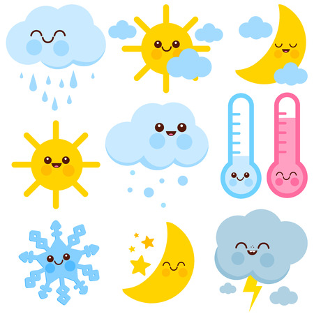 Weather icons set with cute cartoons. Vector illustration.