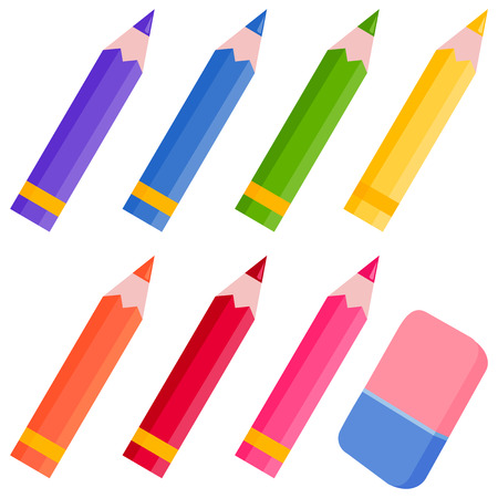 Colored pencils and eraser