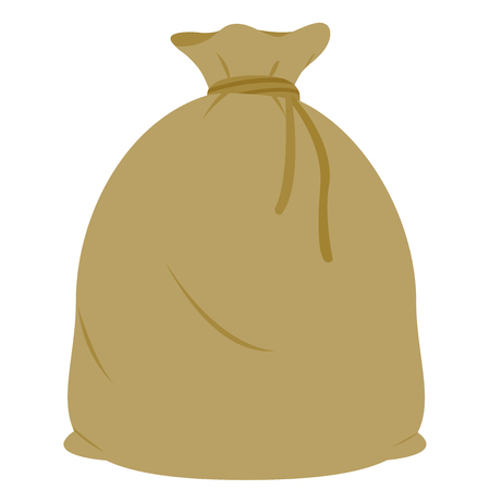 Full burlap sack tied with rope Illustration