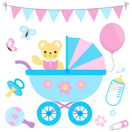 Baby girl and baby boy stroller and accessories. Vector illustration Illustration