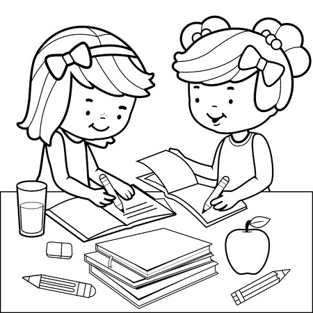 Students doing homework. Black and white coloring book page.