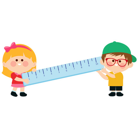 Little boy and girl students holding a big ruler. Vector illustration Vectores