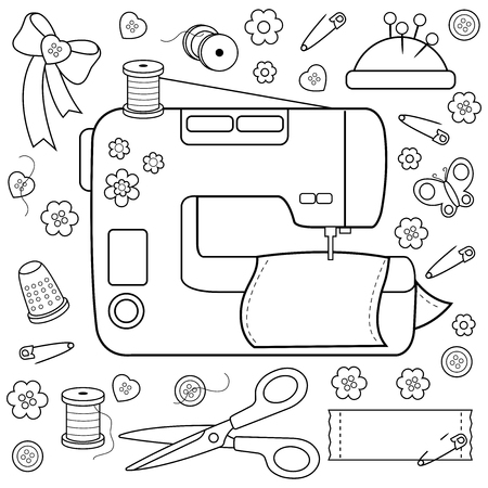 Sewing project tools and equipment. Coloring book page