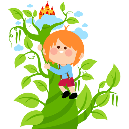 Jack climbing on the magic beanstalk. Vector illustration Ilustração