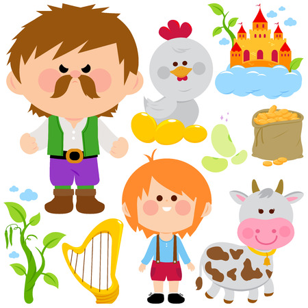 Jack and the magic beanstalk fairy tale vector collection. Illustration